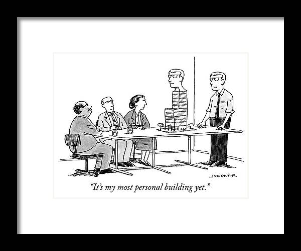 """""""it's My Most Personal Building Yet."""" Framed Print featuring the drawing My most personal building by Joe Dator"""