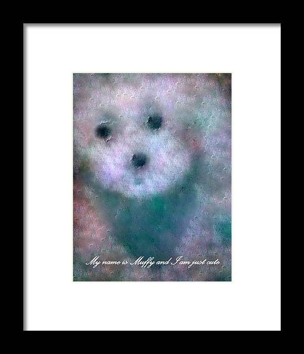 Puppy Framed Print featuring the painting My Name Is Muffy And I Am Just Cute by Sherri's - Of Palm Springs