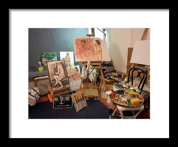 Art Studio Framed Print featuring the drawing My New Studio by Charles Peck