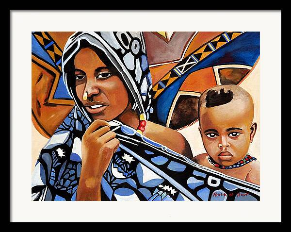African Art Framed Print featuring the painting My One And Only by Patrick Hunt