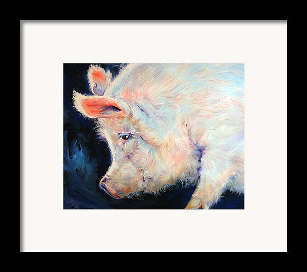 Pig Framed Print featuring the painting My Pink Pig For A Lucky Day By M Baldwin by Marcia Baldwin