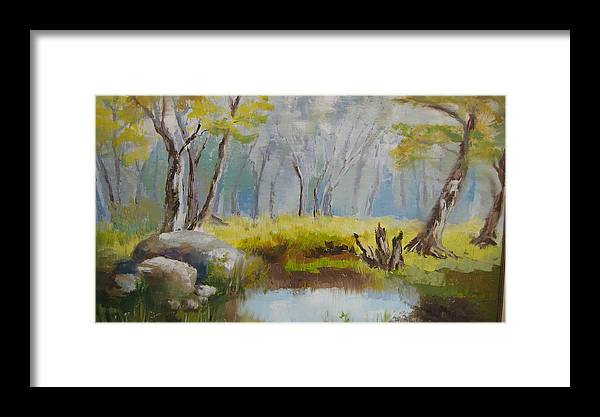 Landscape Framed Print featuring the painting My Pond by Mabel Moyano