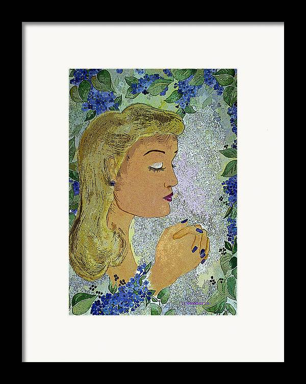 Lilac Prayer Framed Print featuring the painting My Prayer by Irenemaria Amoroso