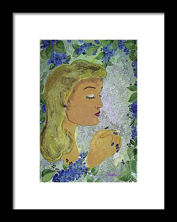 Lilac Prayer Framed Print featuring the painting My Prayer by Irenemaria