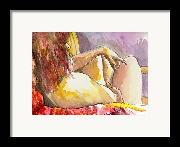Figure Drawing Framed Print featuring the painting My Right Shoulder by Tali Farchi