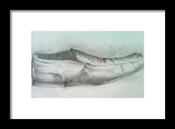 Drawings Framed Print featuring the drawing My Shoe by Olaoluwa Smith