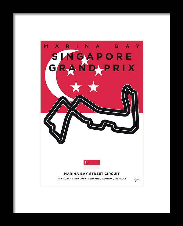 Singapore Framed Print featuring the digital art My Singapore Grand Prix Minimal Poster by Chungkong Art