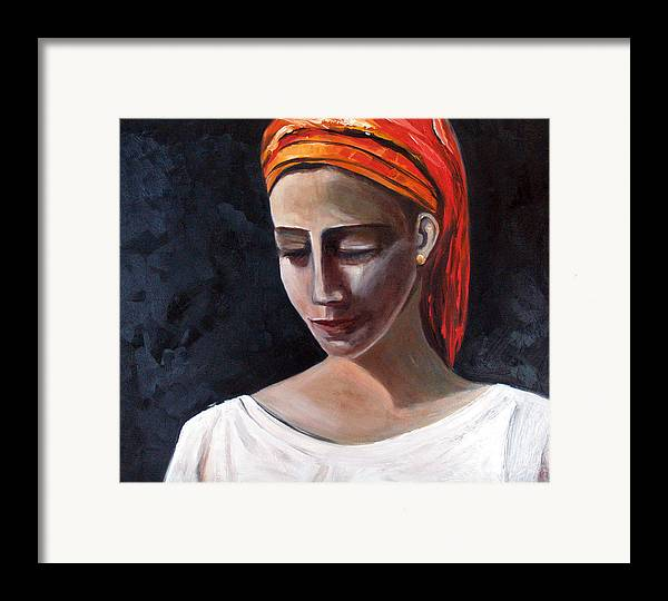 Girl Woman Portrait Red White Black Framed Print featuring the painting My Soul My Temple by Niki Sands