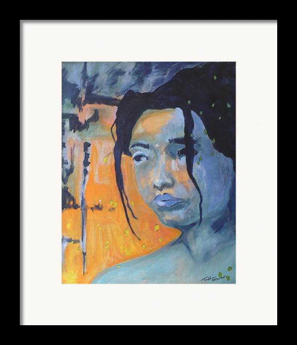 Woman Framed Print featuring the painting My Soul Wanders A Far Away Land by Todd Peterson