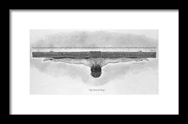 Religion Framed Print featuring the drawing My Statue Of Liberty by Michael McFerrin
