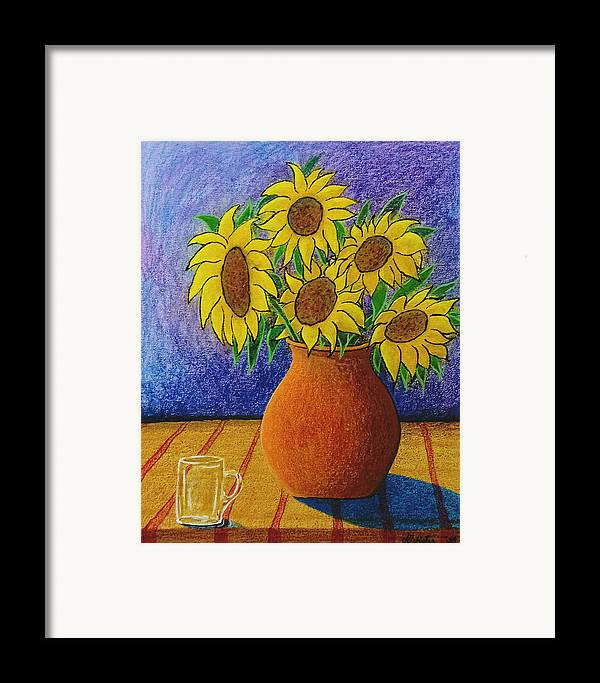 Wax Framed Print featuring the painting My Sunflowers by Arnold Isbister