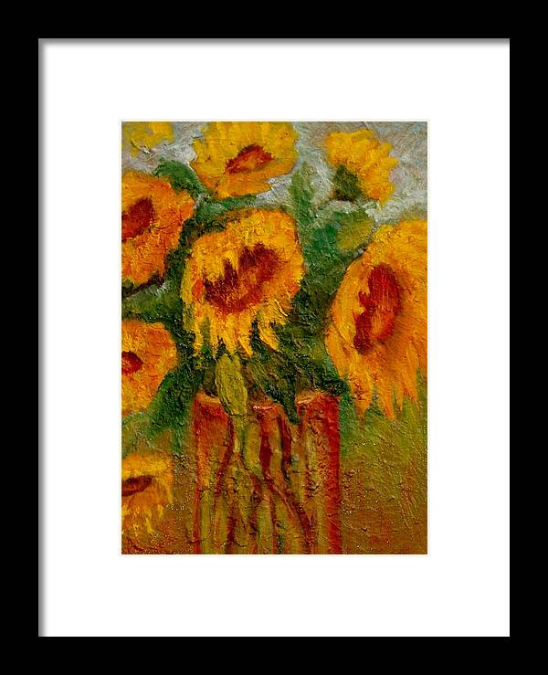 Flowers/sunflower/bouquet Framed Print featuring the painting My Sunshine by Marie Hamby
