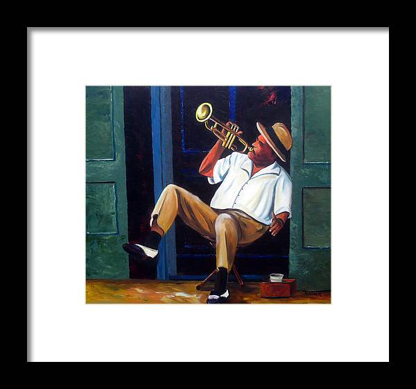 Cuba Art Framed Print featuring the painting My Trumpet by Jose Manuel Abraham