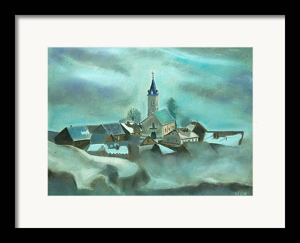 Village Framed Print featuring the pastel My Village by Aymeric NOA