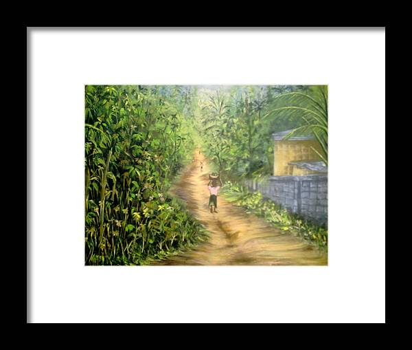 Culture Framed Print featuring the painting My Village by Olaoluwa Smith