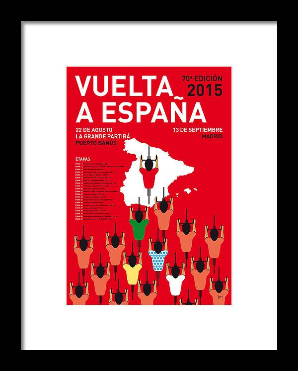 2015 Framed Print featuring the digital art My Vuelta A Espana Minimal Poster Etapas 2015 by Chungkong Art