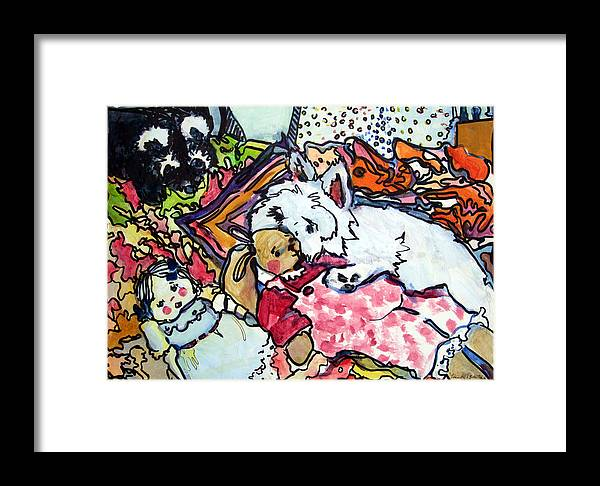 Westie Framed Print featuring the painting My Westie Milly And Her Toys by Mindy Newman