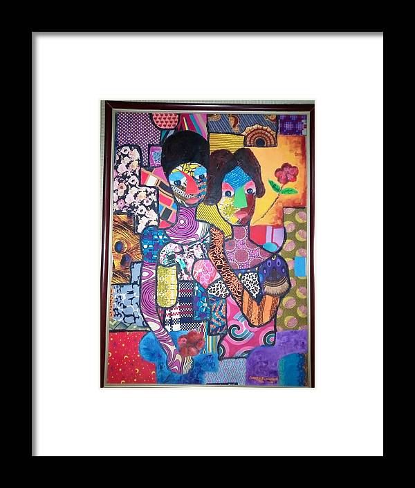 Contact Me On +23490336664790 Framed Print featuring the mixed media My Wife And I by Ferdinand Emeka
