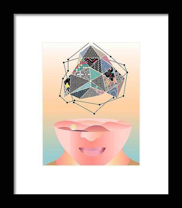 Patterns Framed Print featuring the digital art My World -2 by Guneet Kaur
