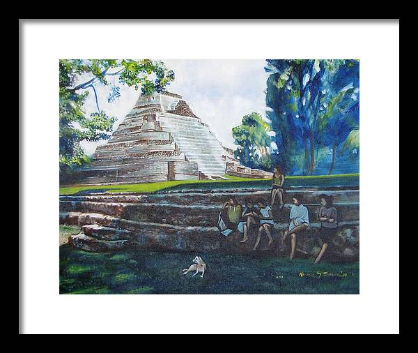 Sunny Afternoon In The Shade Framed Print featuring the painting Myan Temple by Howard Stroman