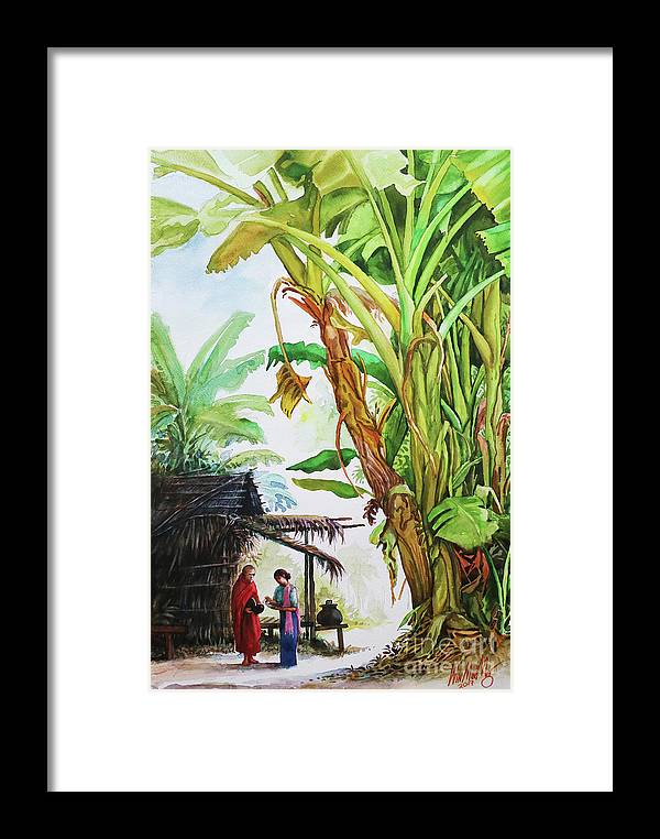 Landscape Framed Print featuring the painting Myanmar Custom_01 by Win Min Mg