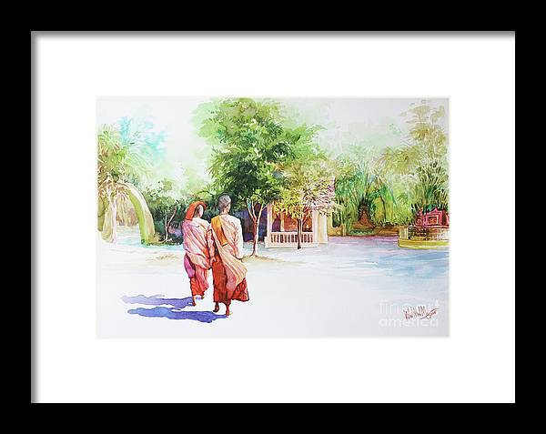 Landscape Framed Print featuring the painting Myanmar Custom_013 by Win Min Mg