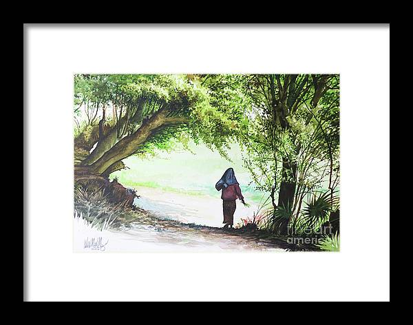 Landscape Framed Print featuring the painting Myanmar Custom_06 by Win Min Mg