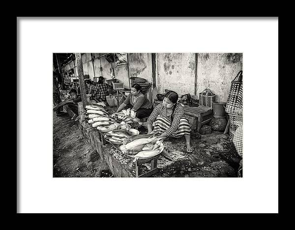 Market Scene Framed Print featuring the photograph Myanmar Market by Nichon Thorstrom