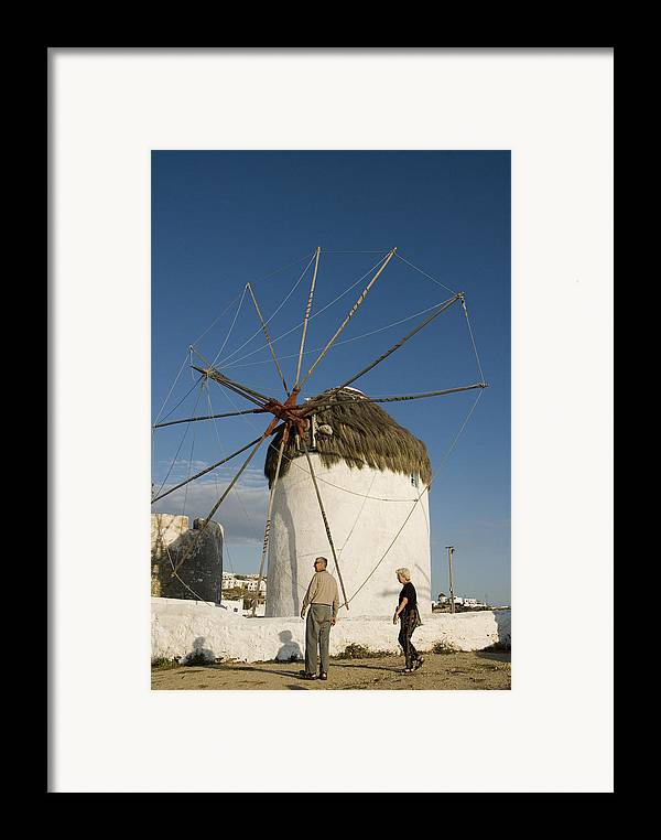 Mykonos Framed Print featuring the photograph Mykonos Icon Windmill by Charles Ridgway