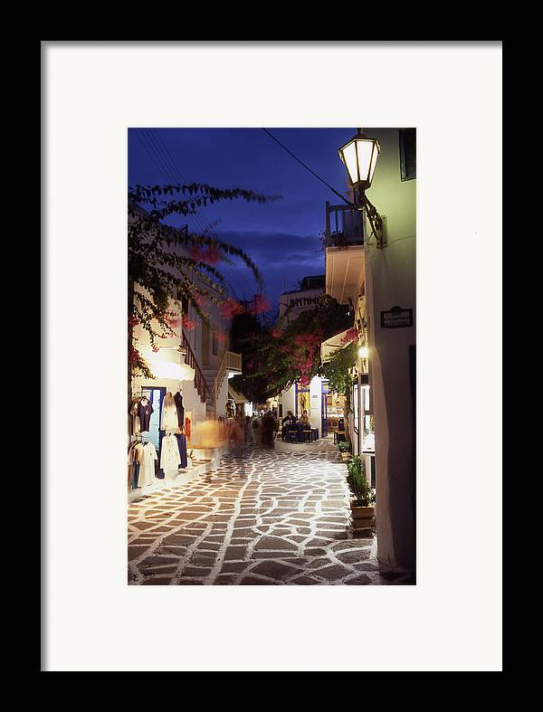 After Dark; ; Blur; Cyclades; Greece Framed Print featuring the photograph Mykonos Town At Night by Steve Outram