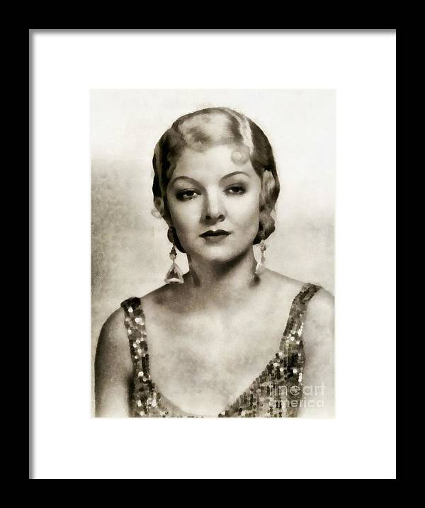 Hollywood Framed Print featuring the painting Myrna Loy, Vintage Actress by John Springfield