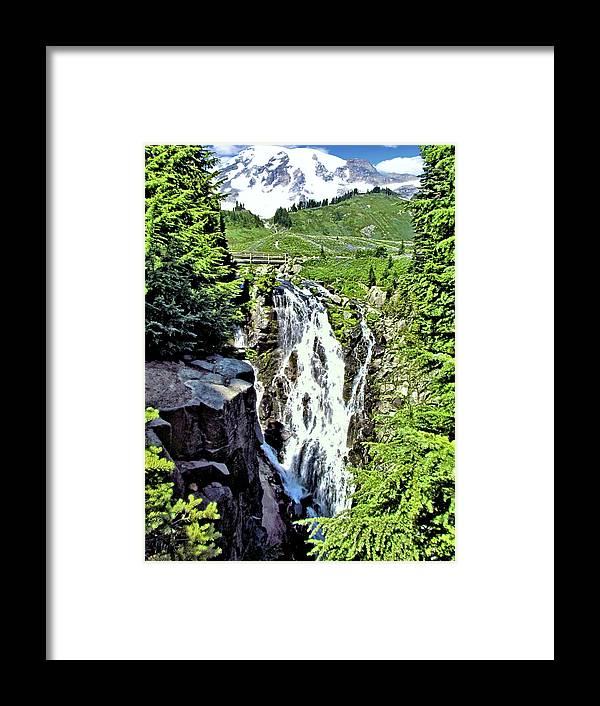 Waterfalls Framed Print featuring the photograph Myrtle Falls And Mount Rainier by John Trommer