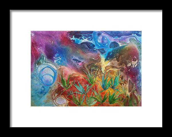 Mixed Media Framed Print featuring the painting Mysteries Of The Ocean by Vijay Sharon Govender