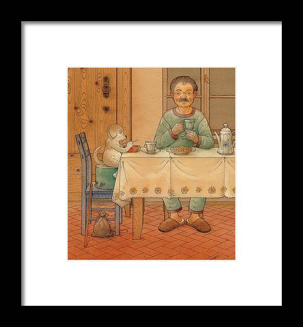 Animals Dog Figure Evening Tea Framed Print featuring the painting Mysterious Guest by Kestutis Kasparavicius