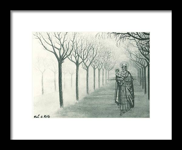 Mysterious Misty Woods Framed Print featuring the painting Mysterious Misty Day by Eric de Kolb