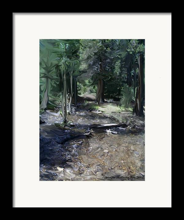 Landscape Framed Print featuring the digital art Mysterious Woods by Jennifer Skalecke