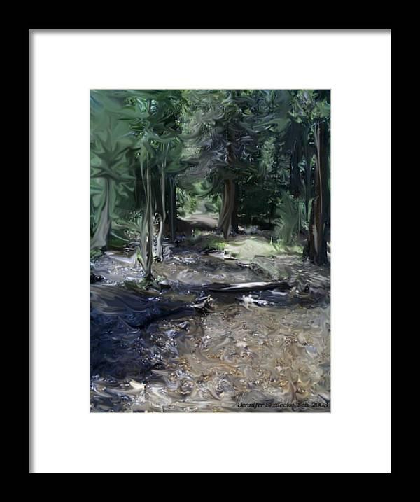 Landscape Framed Print featuring the digital art Mysterious Woods by Jennifer Skalecke
