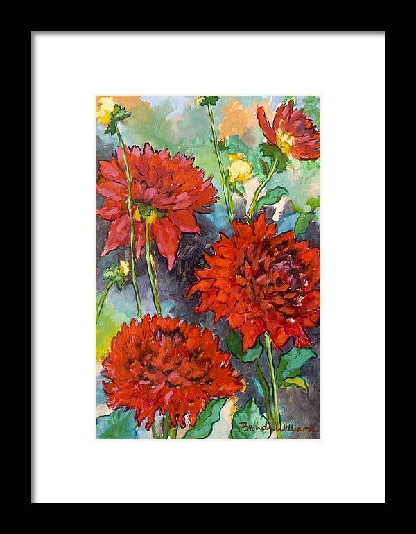 Dahlias Framed Print featuring the painting Mystery Day Dahlias by Brenda Williams