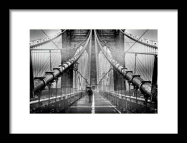 Brooklyn Bridge Framed Print featuring the photograph Mystery Manhattan by Az Jackson