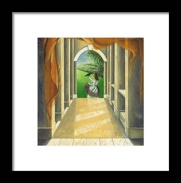 Figurative Framed Print featuring the painting Mystery Messenger by Gloria Cigolini-DePietro