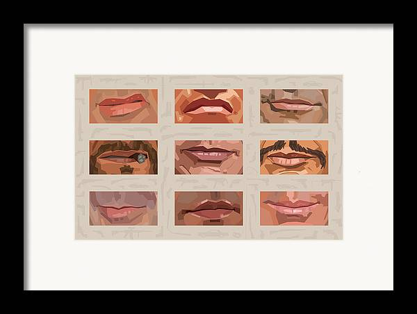 Stallone Schwarzenegger Framed Print featuring the digital art Mystery Mouths Of The Action Genre by Mitch Frey
