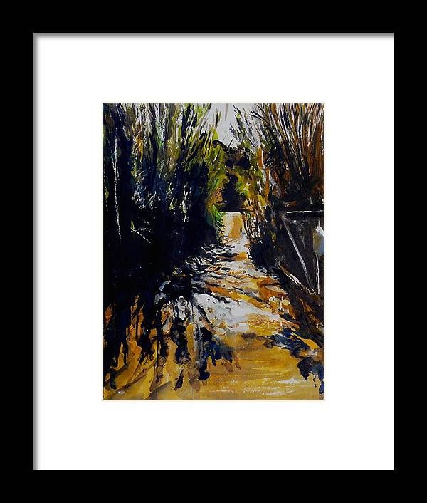 Landscape Framed Print featuring the painting Mystery Path by Doranne Alden
