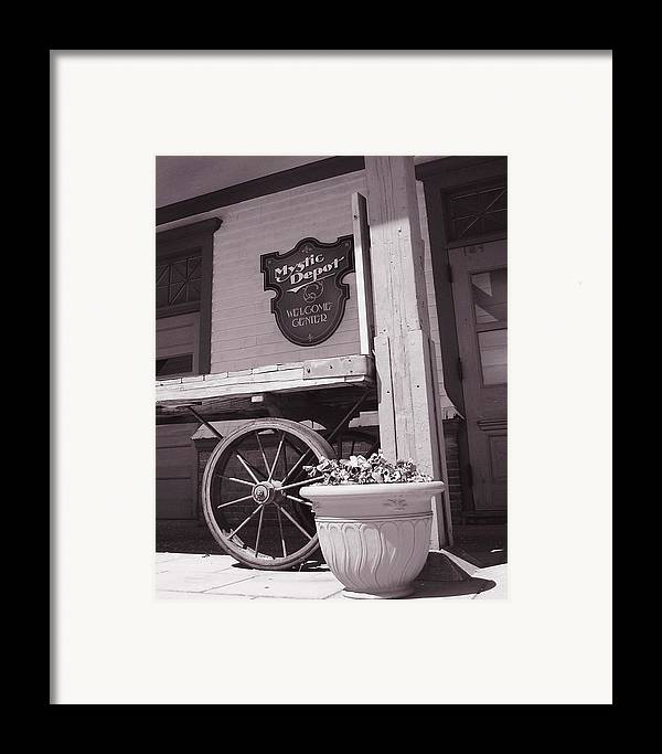 Train Framed Print featuring the photograph Mystic Depot by Heather Weikel