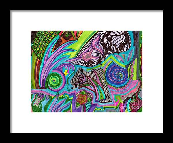 Colorful Framed Print featuring the drawing Mystic Garden by Jackie Lewis