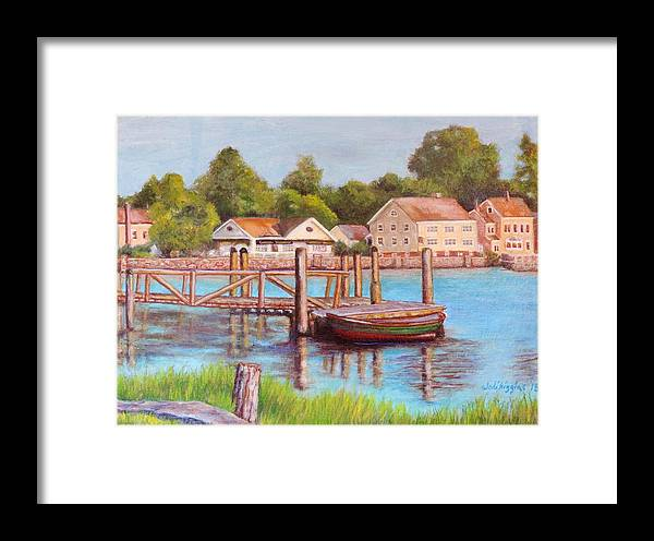Boat Framed Print featuring the painting Mystic River View by Jodi Higgins