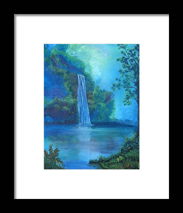 Landscape Framed Print featuring the painting Mystic Waterfall by SheRok Williams