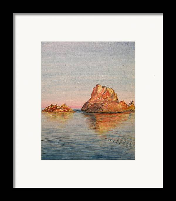 Island Framed Print featuring the painting Mystical Island Es Vedra by Lizzy Forrester