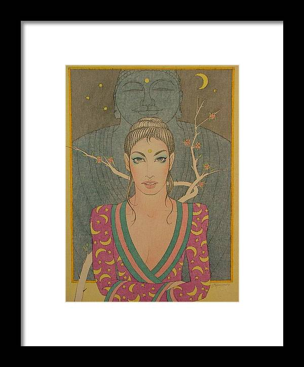 Female Framed Print featuring the painting Mystical Smile by Gary Kaemmer