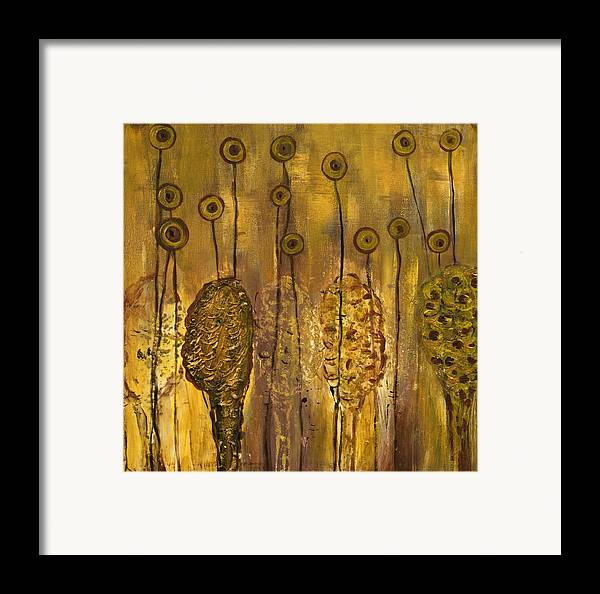 Organic Framed Print featuring the painting Myxomycetes by Angela Dickerson