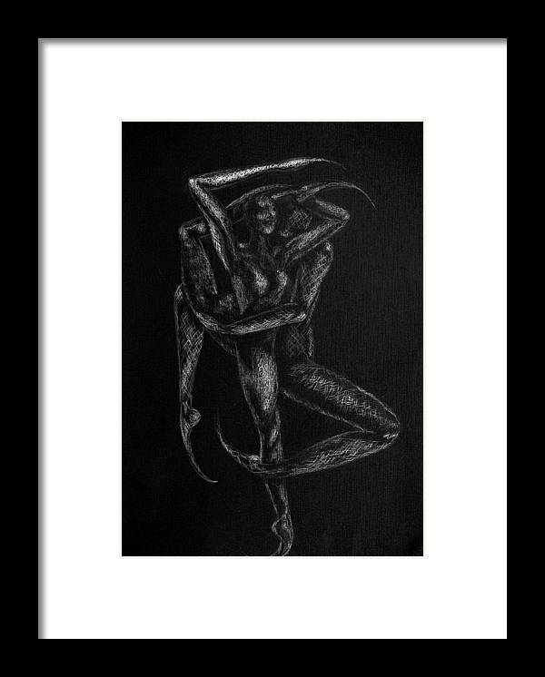 Dancers Framed Print featuring the drawing n12 of Birds series by Nani Nogara